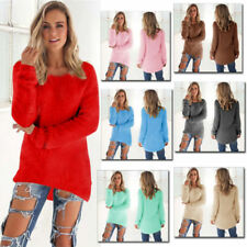 Ladies Sweater Long Sleeve Loose Knitted Casual Jumper Tops Hoodies Pullover