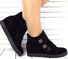 WOMENS LADIES LOW WEDGE HEEL SNEAKERS FLAT ANKLE BOOTS SHOES TRAINERS SIZE 3-8