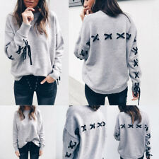 Womens Pullover Long Sleeve Crew Neck Slim Fit Swearshirt Hoodies Jumper Tops