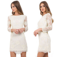New Womens Cream and Nude Embellished Cocktail Evening Party Dress Christmas UK