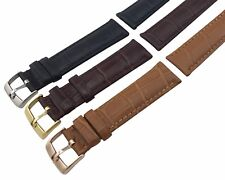For Omega  Watch BLACK Genuine Leather Strap Band Clasp/Buckle 18 19 20 21 22mm