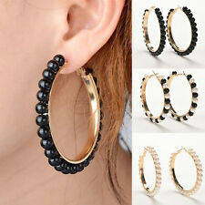 Women Vogue Faux Pearl Earings Chic Beads Gold Plated Ear Hoop Circle Earrings''
