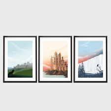 Game of Thrones Poster set, TV Poster Art Print, Travel Poster, Wall Art
