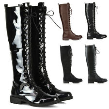 Womens Knee High Lace Up Calf Biker Ladies Zip Punk Military Combat Army Boots