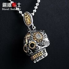 hip hop skull man necklace steel pendant punk skull men jewelry necklace