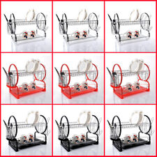 2 TIER CHROME PLATE DISH CUTLERY CUP DRAINER RACK DRIP TRAY HOLDER BLACK