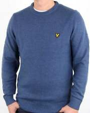 Lyle and Scott Crew Neck Lambswool Blend Jumper in Mist Blue Marl - sweater