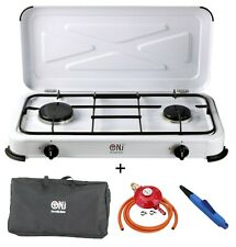 NJ-02 Portable Camping Gas Stove 2 Burners Enamel Lid LPG Cover Outdoor 3.4kW