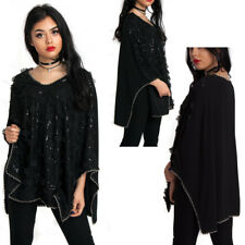 New Womens Sequin Beaded Oversized Evening Party Top Xmas Cocktail Party Top UK
