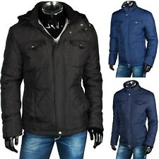 WARME WINTER HERREN STEPPJACKE MANTEL PARKA KAPUZE FELL JACKE