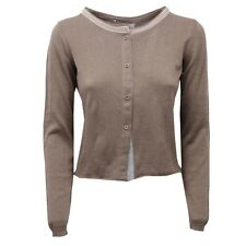 D1348 cardigan donna FABIANA FILIPPI tortora brown sweater cotton woman