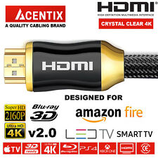 HIGHSPEED GOLD PLATED HDMI CABLE 4K @ 60HZ 2160p AMAZON FIRE SMART TV LED LCD