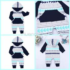 Newborn Baby Boy Girl Hooded Romper Jumpsuit Bodysuit Outfit Cotton Warm Clothes