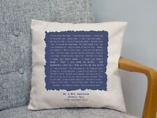 Elton John 'Your Song' Personalised Song Lyrics Cushion 2nd Anniversary Gift