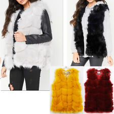 New Womens Faux Fur Panel Gilet Sleeveless Coat Outerwear Winter Jacket Gift UK