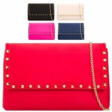 Ladies Faux Suede Studded Clutch Bag Fold Over Evening Bag Handbag Purse KL2122