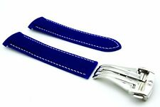 Blue Rubber/Silicone Strap/Bad for Omega SeaMaster/SpeedMaster 20/22mm + Clasp