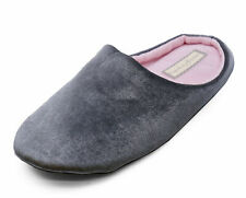 LADIES GREY SLIP-ON COMFY MULES WARM INDOOR OUTDOOR SLIPPERS HOUSE SHOES 3-8