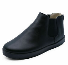 GIRLS KIDS JUNIOR FLAT BLACK ANKLE CHELSEA CASUAL COMFY BOOTS SCHOOL SHOES 13-6