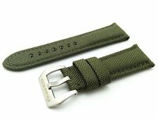 Green Canvas/Leather Strap/Band Buckle for Officine Panerai Watch 22mm 24mm 26mm