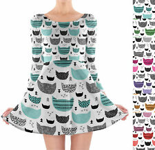 Inky Texture Cats Longsleeve Skater Dress XS-3XL All-Over-Print