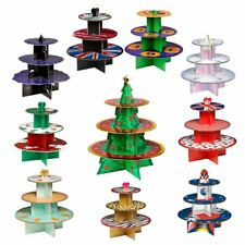 3 Tier Cardboard Christmas Cake Stand Cupcakes Muffin Stand Food Serving