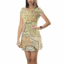 Vintage South West USA Map Short Sleeve Dress XS-5XL Flared