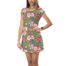 Tropical Vintage Florals Short Sleeve Dress XS-5XL Flared