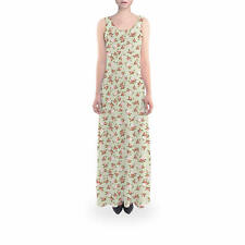 Shabby Chic Roses on Green Flared Maxi Dress Sizes XS - 5XL