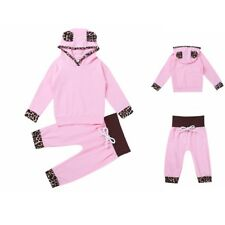 Baby Girl Kid Outfit Leopard Print Toddler Hooded Tops Pants Outfits Clothes Set
