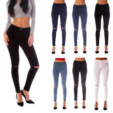 WOMENS HIGH WAISTED RIPPED KNEE SKINNY JEANS LADIES JEGGINGS 6/8/10/12/14/16/18