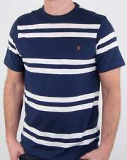 Farah Hewitt T Shirt in Yale Blue & White - stripe short sleeve cotton tee