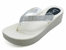 LADIES WHITE TOE-POST WEDGES SUMMER SANDALS FLIP-FLOP HOLIDAY MULES SHOES 3-8
