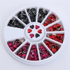 CARROUSSEL 3D STRASS COEUR ROUGE NOIR ARGENT ONGLE NAIL ART NEUF ONG029