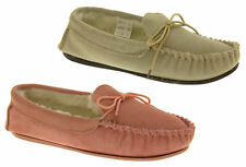 Womens Lodgemok SUEDE LEATHER Moccasins REAL WOOL Shoe Slippers Size 3 4 5 6 7 8