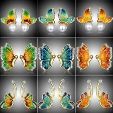 Valentine's Day Gift Butterfly Crystal Ear Stud Earrings Women Costume Jewellery