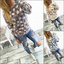 Ladies Long Sleeve Blouse Stone Print T-Shirts Winter Warm Sweater Jumper Shirts