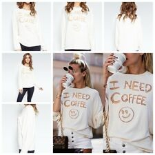 Womens Autumn T-Shirts Smile Face Print Shirts Long Sleeve Casual Tops Blouse