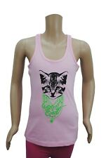 Girls Ex Zara Vest Tank Top Cool Cat Print Pink Age 9 to 14 Years Kids C04.3