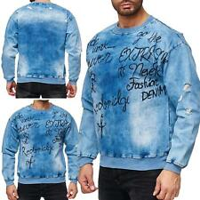 Red Bridge Herren Jeans-Look Destroyed Pullover Sweatshirt Sweater Blue Denim Bl