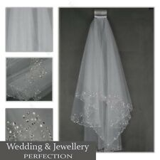 White Ivory 2t Bridal Wedding Veil with Comb Tulle Elbow Beaded Edge Sequins