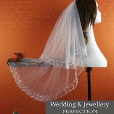 White Ivory 2t Bridal Wedding Veil Tulle with Comb Elbow Beaded Edge Sequins NEW