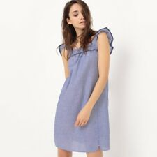 La Redoute Collections Donna Abito Chambray, Maniche Corte Volant
