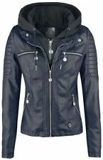 RED by EMP Hooded Faux Leather Jacket Giacca donna blu scuro/nero