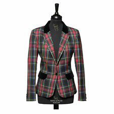 New Luxury Formal Scottish Ladies Tartan Blazer in Black Stewart - Choose Size
