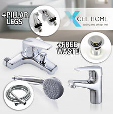 Chrome Mixer Tap Bathroom Set  Brass Bath Shower Mono Bloc Basin Sink Modern