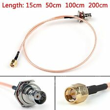 RG316 Cable BNC Hembra Mamparo Jack To SMA Macho Enchufe Recta Pigtail BS6.