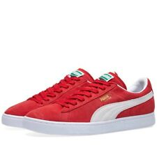 Mens Womens Puma Classic Suede Red White Shoes Lace Up Casual Trainers