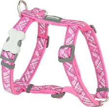 Red Dingo Patterned HOT PINK Harness for Dog or Puppy   Sizes XS - LG   FREE P&P