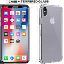 Tempered Glass Screen Protectors Film Guard & Gel Clear Case For Apple iPhone